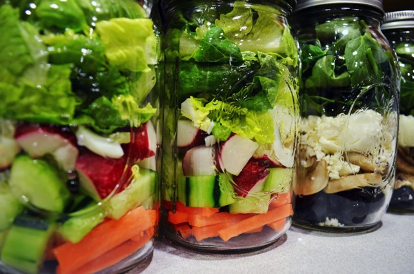 Mason Jar Salads Closeup